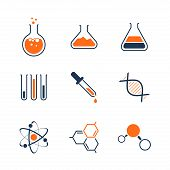 stock photo of neutrons  - Chemistry simple vector icon set  - JPG