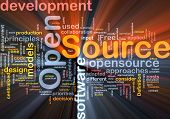 pic of open-source  - Background concept wordcloud illustration of open source license glowing light - JPG