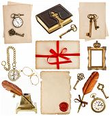 picture of inkwells  - old paper sheets with vintage accessories isolated on white background - JPG