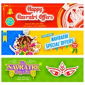 image of navratri  - illustration of colorful banners for Happy Navratri Offer promotions - JPG