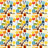 stock photo of bag-of-dog-food  - Pets seamless pattern with animal accessories and care elements vector illustration - JPG