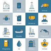 picture of fuel tanker  - Oil gas fuel and petroleum flat line icons set with refinery tanker barrel isolated vector illustration - JPG