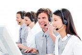 Portrait Of Charismatic Customer Service Agents Working In A Call Center