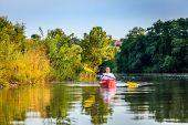 pic of bluegrass  - Kayaking on a lake - JPG