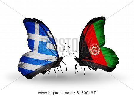 Two Butterflies With Flags On Wings As Symbol Of Relations Greece And Afghanistan