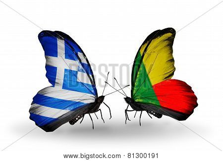 Two Butterflies With Flags On Wings As Symbol Of Relations Greece And Benin