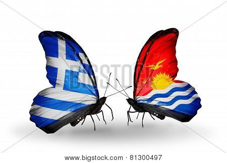 Two Butterflies With Flags On Wings As Symbol Of Relations Greece And Kiribati