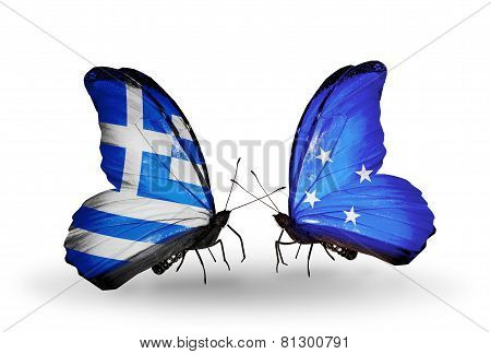 Two Butterflies With Flags On Wings As Symbol Of Relations Greece And Micronesia
