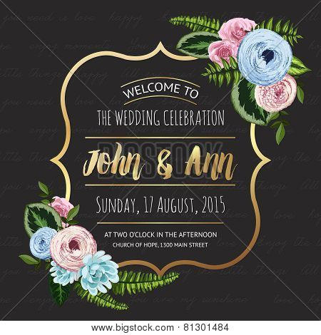 Wedding invitation card with painted flowers