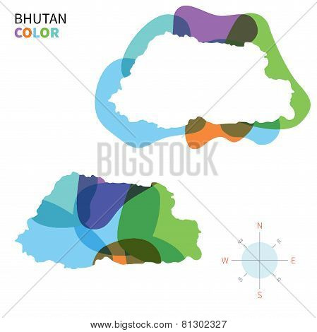 Abstract vector color map of Bhutan with transparent paint effect.
