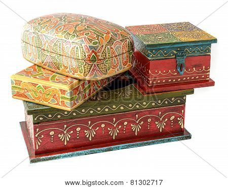 set of Vintage wooden caskets from India