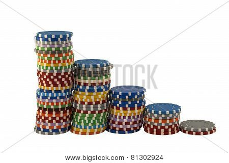 Stacks of casino chips  on a white background