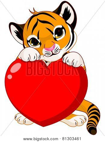 Valentine day illustration of cute tiger cub holding heart