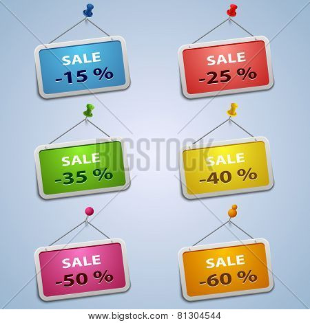 Colorful Labels With Pins Sale Discount Template