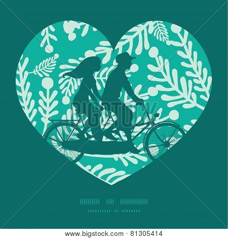 Vector emerald green plants couple on tandem bicycle heart silhouette frame pattern greeting card te
