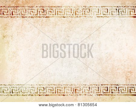 background antique wall with cracks with greek ornament meander.vector illustration