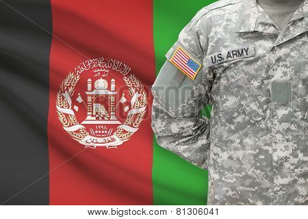 American Soldier With Flag On Background - Afghanistan