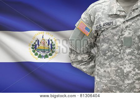 American Soldier With Flag On Background - El Salvador