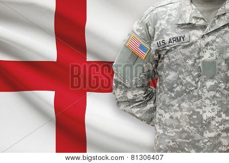 American Soldier With Flag On Background - England