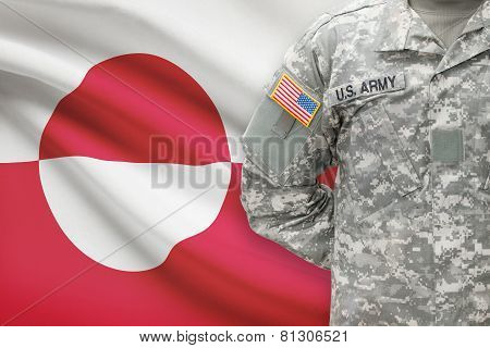 American Soldier With Flag On Background - Greenland