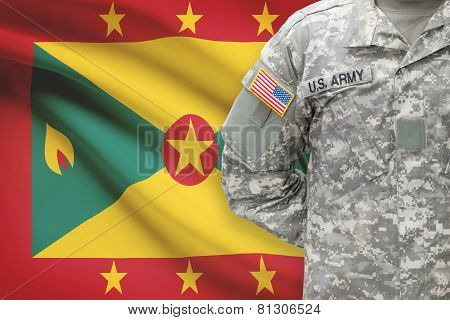 American Soldier With Flag On Background - Grenada