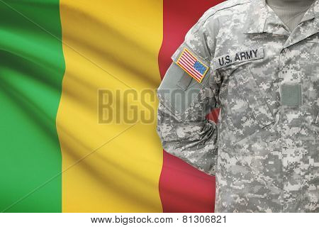 American Soldier With Flag On Background - Mali