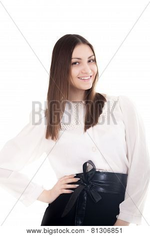 Smiling Young Woman In Office Attire On White Background