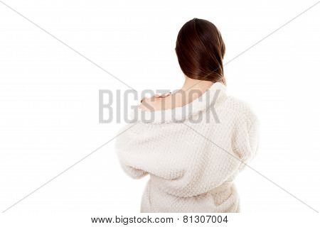 Sexy Young Female In White Bathrobe, Back View