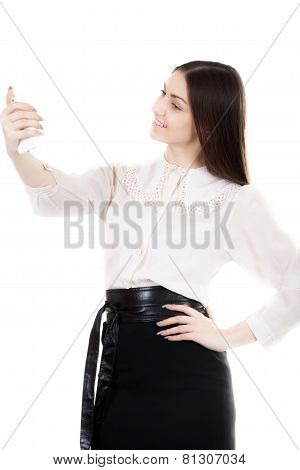 Happy Smiling Female In Black Skirt And White Shirt Uniform Taking Selfie, Self-portrait With Smartp