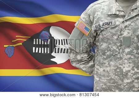 American Soldier With Flag On Background - Swaziland
