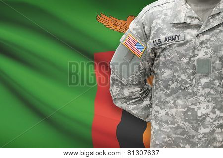 American Soldier With Flag On Background - Zambia