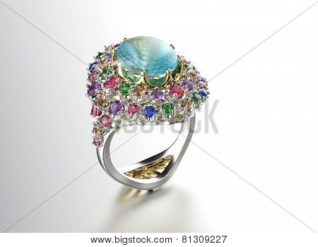 Ring with Diamond. Fashion Jewelry background. Valentine and wedding day. Aquamarine