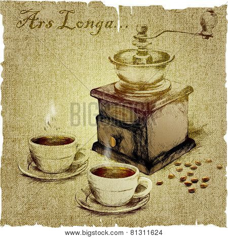 hand drawing of coffee-grinder and two cups of coffee.vector illustration