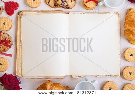 Valentines Day Background. Blank Book With Cookies And Roses