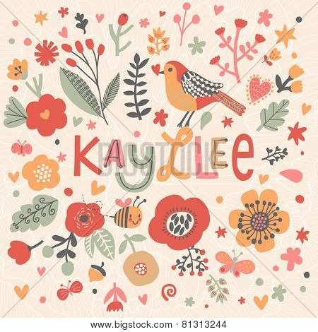 Bright card with beautiful name Kayllee in poppy flowers, bees and butterflies. Awesome female name design in bright colors. Tremendous vector background for fabulous designs