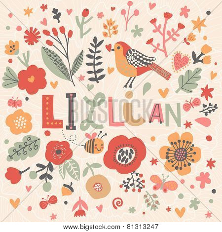 Bright card with beautiful name Lillian in poppy flowers, bees and butterflies. Awesome female name design in bright colors. Tremendous vector background for fabulous designs