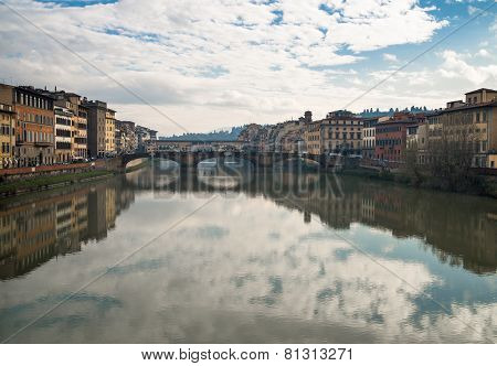 Reflections On The Arno River In Florence