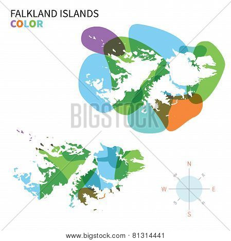 Abstract vector color map of Falkland Islands with transparent paint effect.