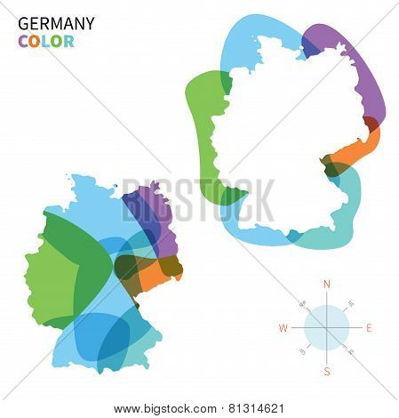 Abstract vector color map of Germany with transparent paint effect.