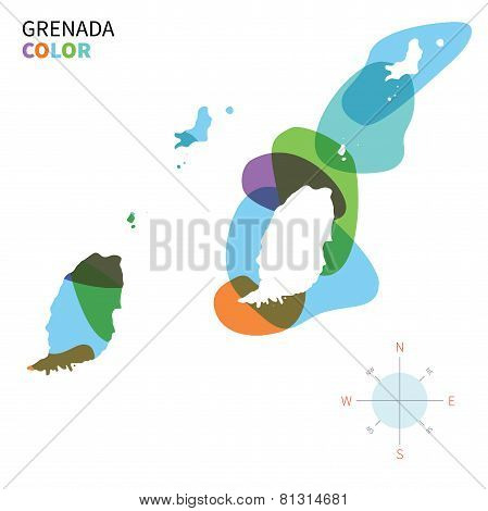 Abstract vector color map of Grenada with transparent paint effect.