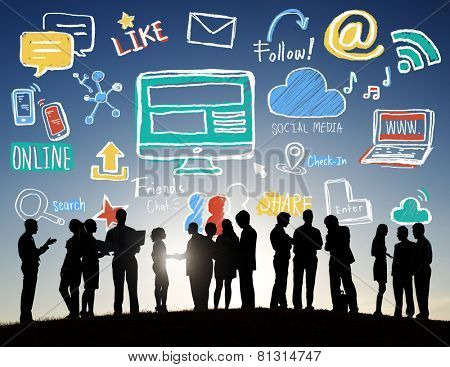 Back Lit Group Business People Discussion Social Media Concept