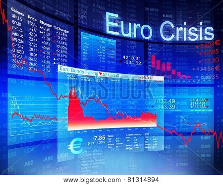 Euro Crisis Economic Financial Banking Investment Concept