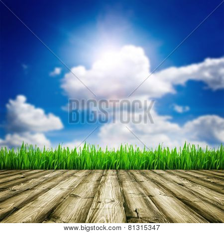 Background room interior. Fresh spring green field grass with blue bokeh and sunlight and wood floor.