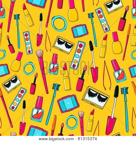 Seamless vector pattern with makeup tools