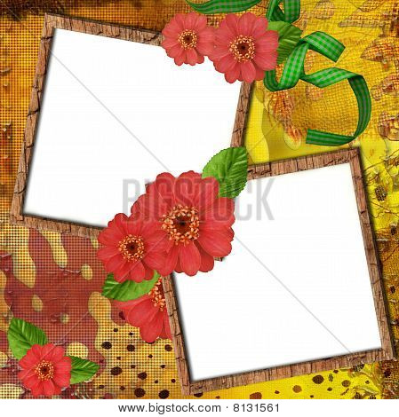 Two wooden frame for a photos or invitation