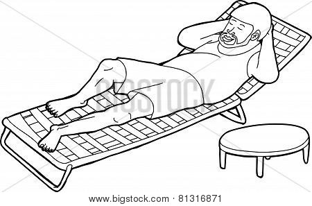 Outline Of Bearded Man On Lawn Chair
