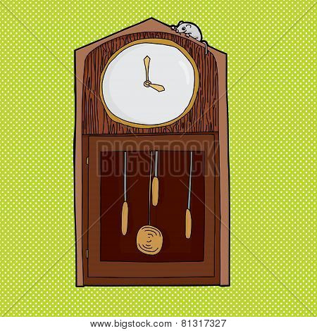 Mouse On Clock With Empty Face