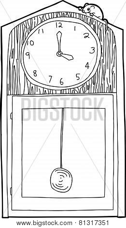 Outline Of Mouse On Clock