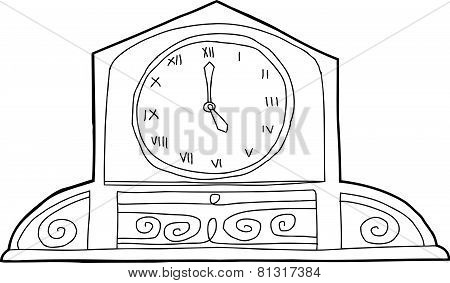 Ornate Mantle Clock Outline