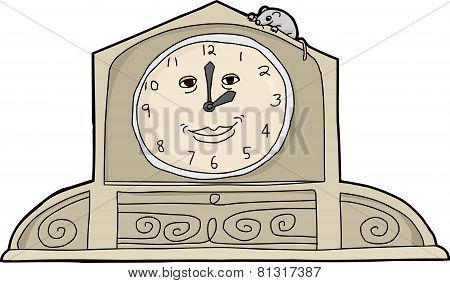 Mouse On Smiling Clock